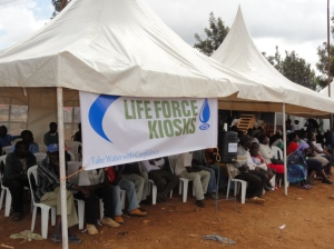Crowd attending the Life Force Kiosks launch in Kibera
