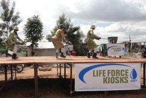 Dancers on stage in Kibera