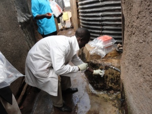 KEMRI Water testing in Kibera